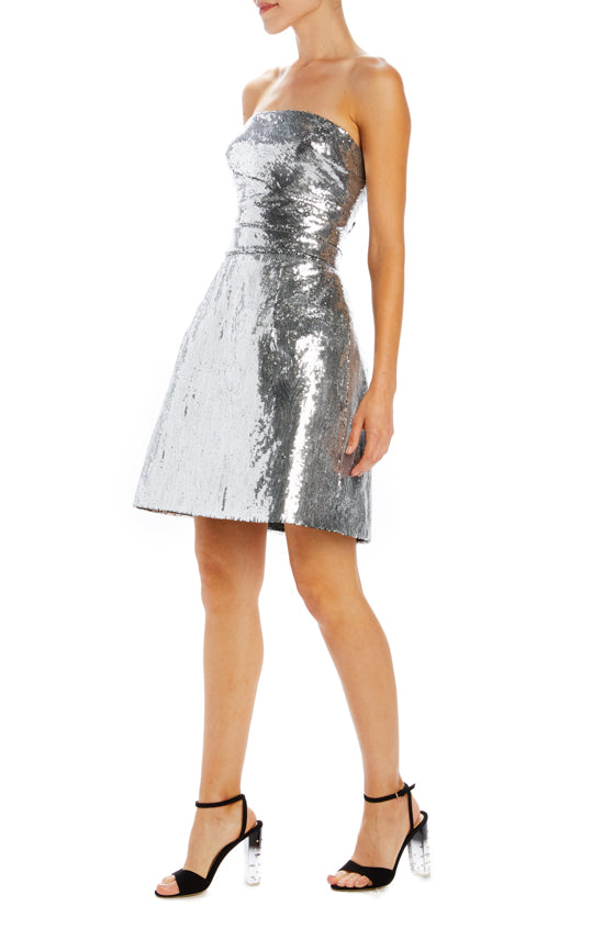 Silver mico sequin cocktail dress