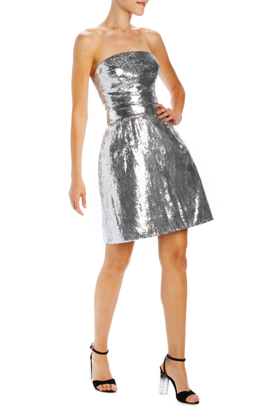 Monique Lhuillier Silver Mini Dress with bubble skirt