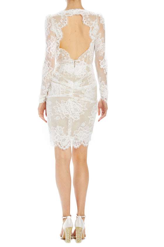 Lace rehearsal dinner dress Monique Lhuillier