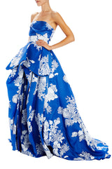 Printed Organza Strapless Evening Gown