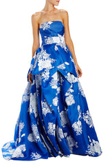 strapless tufted cobalt ball gown