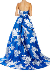 Cobalt silk white ball gown strapless with hidden back zipper