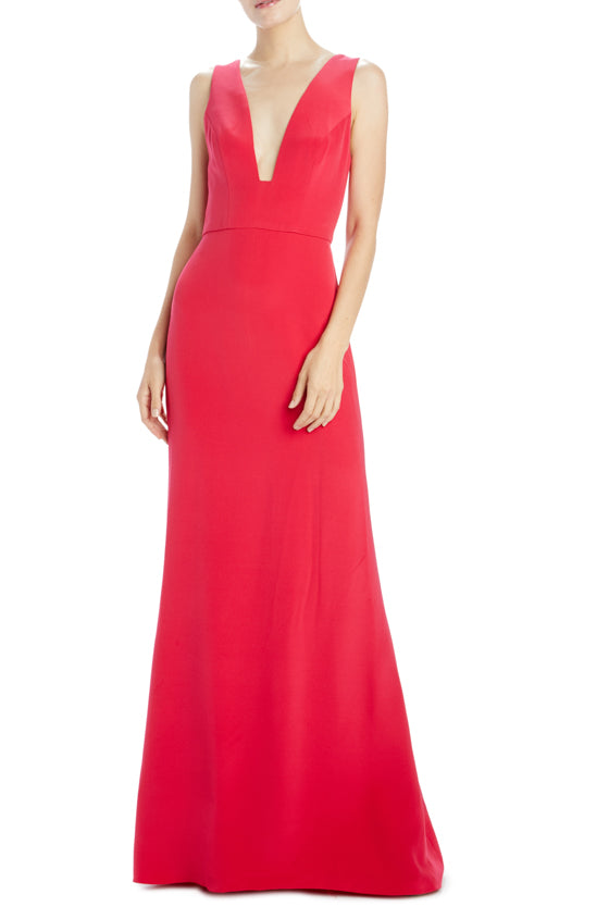 Sleeveless deep v-neck gown cherry