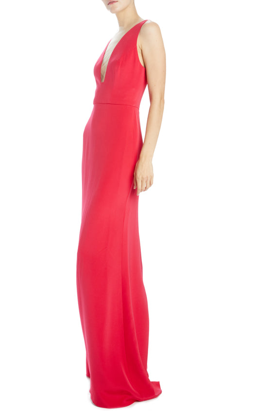 Monique Lhuillier v-neck cherry gown