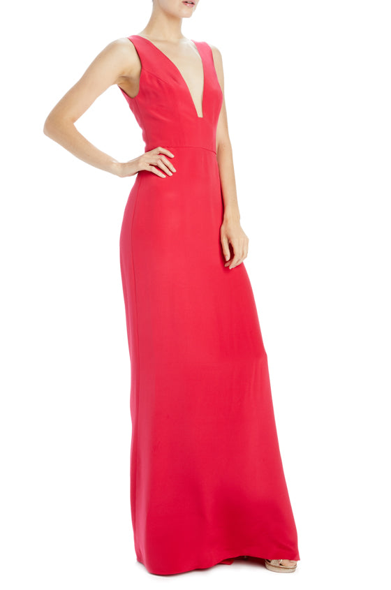 Monique Lhuillier Spring 2020 Red Evening Gown with deep V-neck