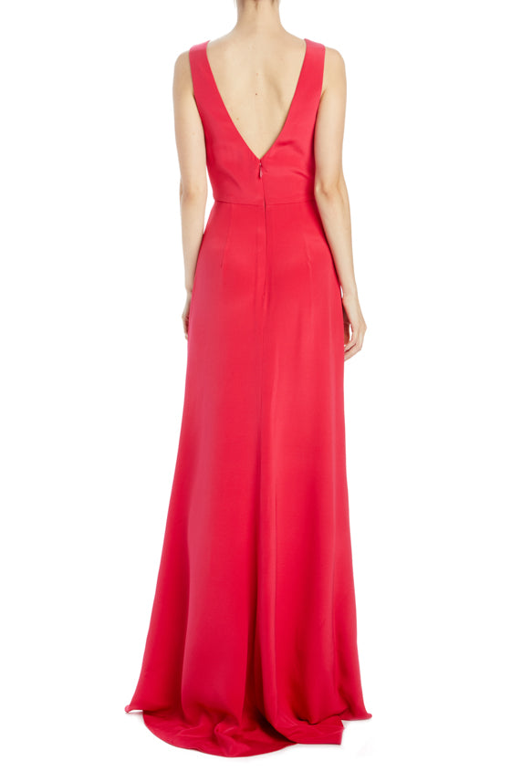 Cherry Crepe sleeveless deep v-neck gown