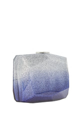 Cobalt and silver ombre Lucite faceted minaudiere