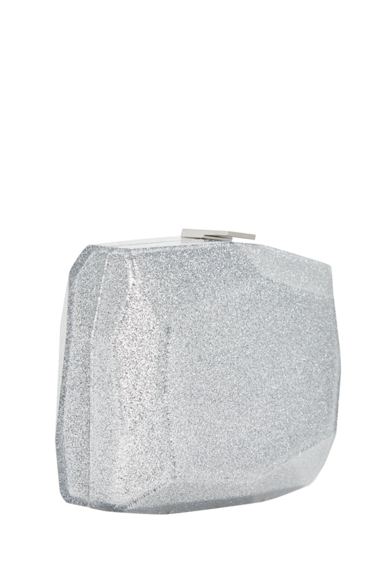 Silver lucite faceted glitter minaudiere.