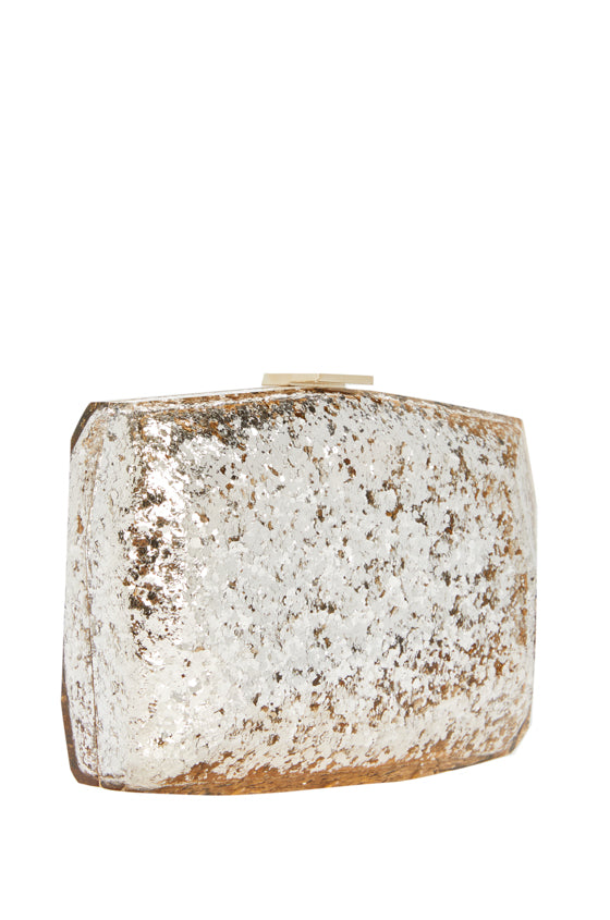 Monique Lhuillier gold glitter handbag