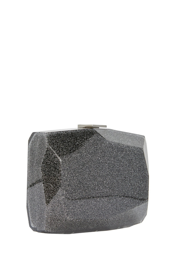 Noir confetti glitter lucite faceted minaudiere