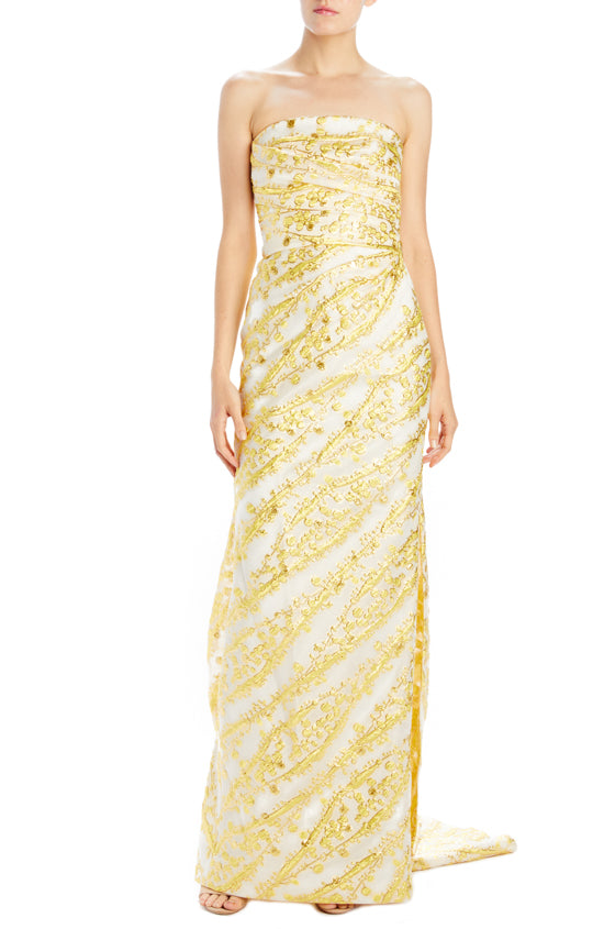 Strapless column gown with asymmetric drape and train