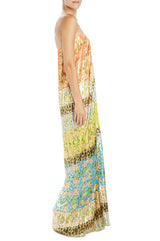 Orchid tile printed lame draped gown
