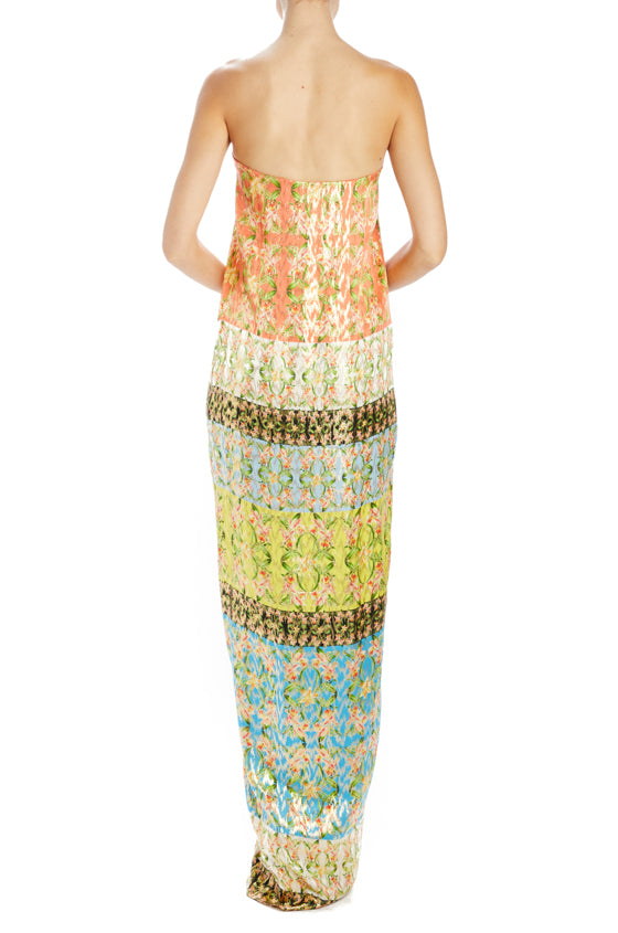 Strapless printed lame sheath gown Monique Lhuillier