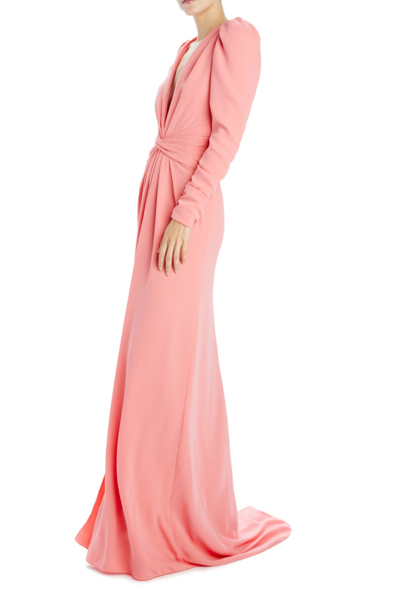 long sleeve crepe evening gown pink