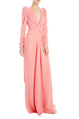 v-neck long sleeve gown with twist front detail