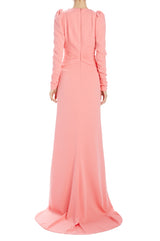 long sleeve evening gown with small train