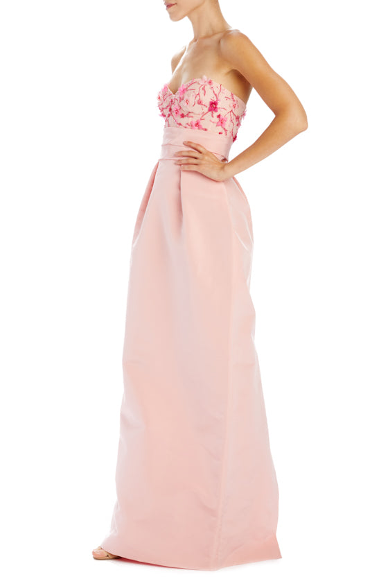 Strapless column dress with structured bodice PEONY