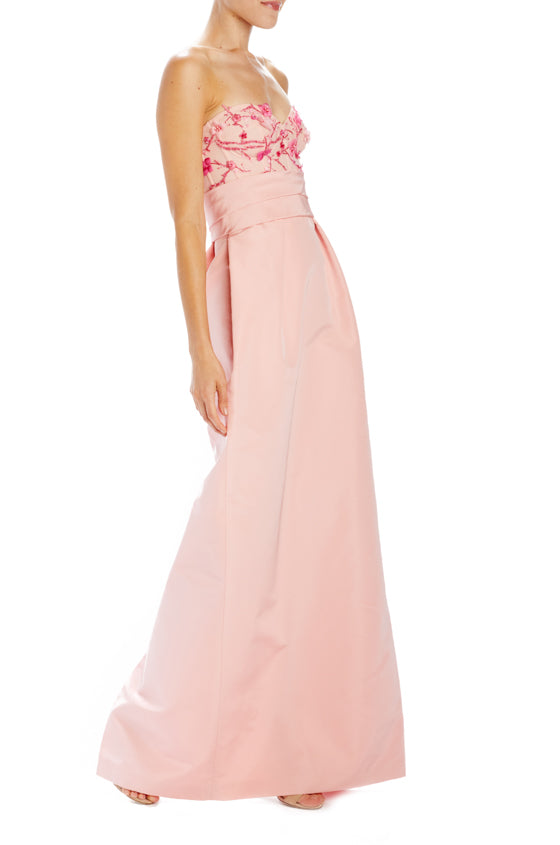 strapless column gown with structured bodice with sash