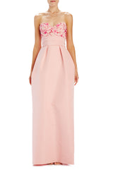 Monique Lhuillier Peony Silk Faille Evening Gown