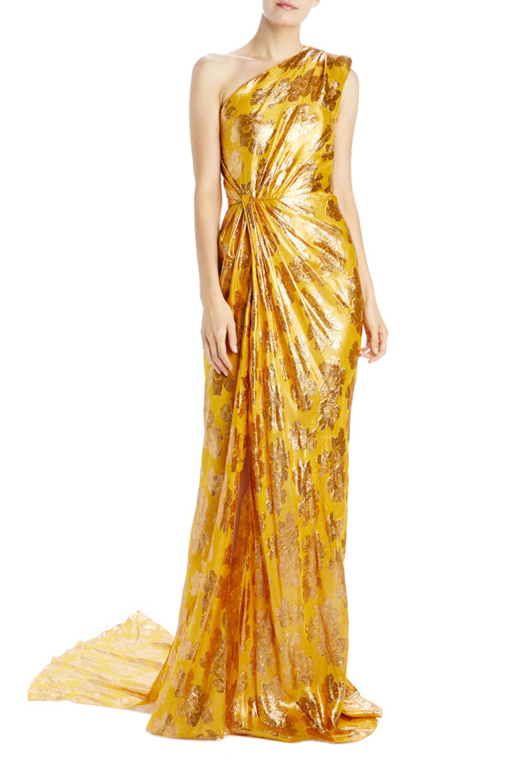 draped one shoulder gown with front slit