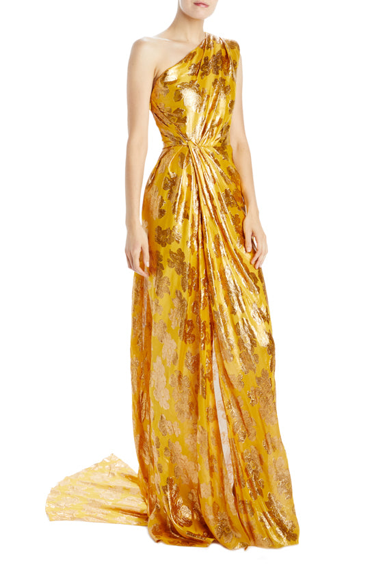 One shoulder floral lurex jacquard gown with slit