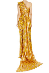 Antique gold and yellow printed gown with back streamer