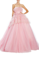 Monique Lhuillier embroidered tulle pink gown