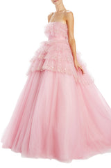 PINK ruffle tulle evening gown