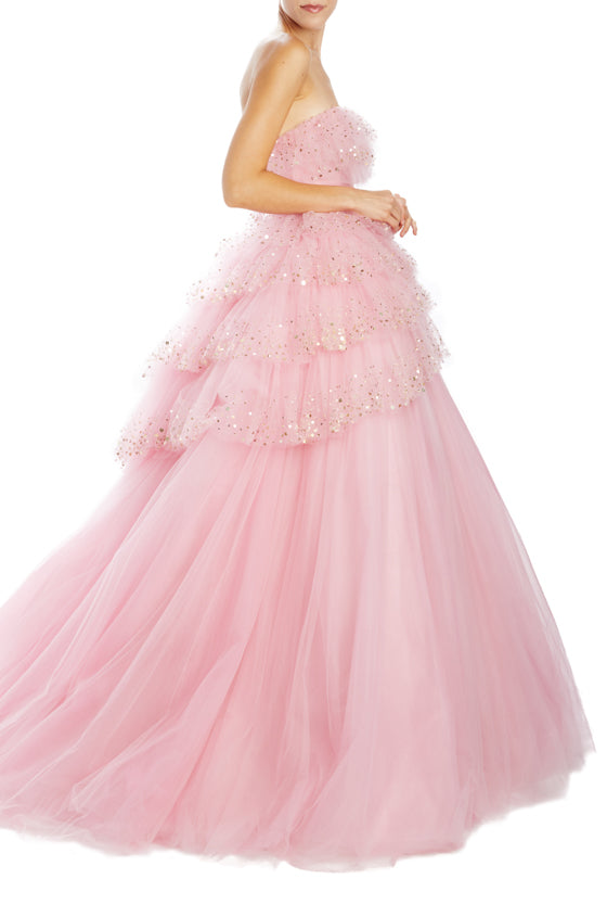 Spring 2020 Strapless evening gown with ruffles