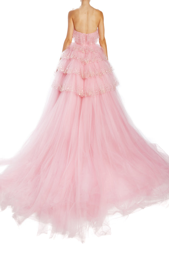 Monique Lhuillier Spring 2020 pink tulle gown with ruffles