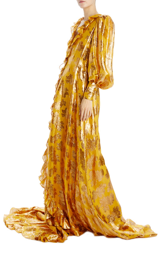 antique gold and yellow caftan evening gown