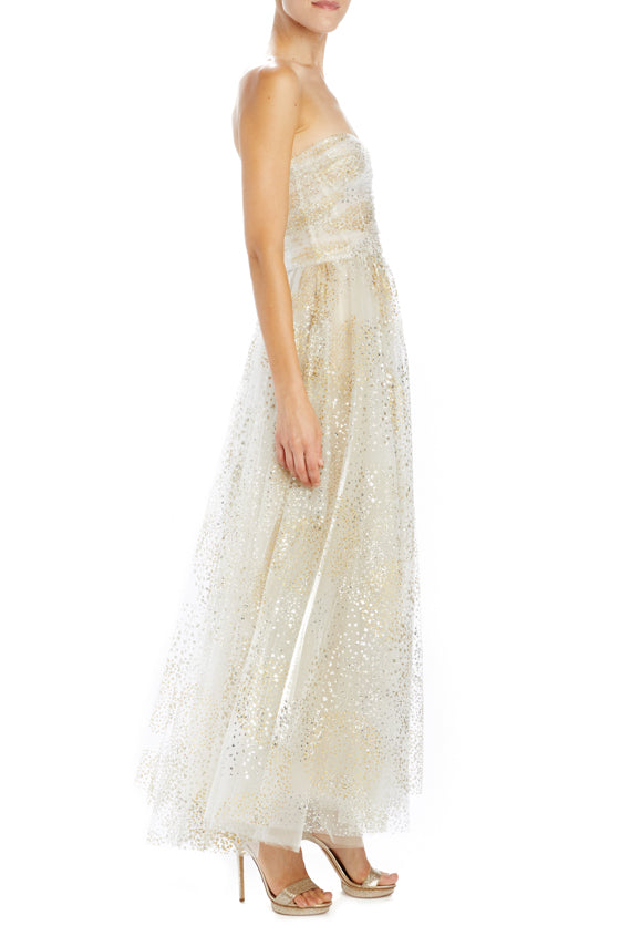 monique lhuillier gold tulle strapless gown
