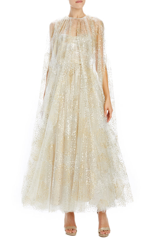 Monique Lhuillier tulle evening cape