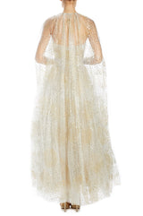 Metallic tulle cape tea length
