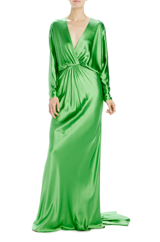 Monique Lhuillier Satin Gown with dolman sleeves