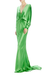 Green Long sleeve satin Gown