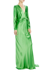 Spring 2020 green gown v-neck