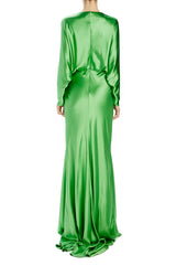 Draped dolman sleeve gown green Spring 2020