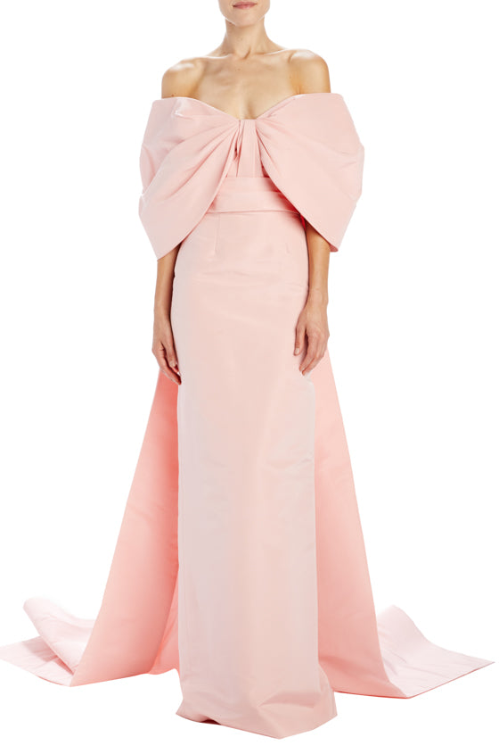 Pink column gown with train and oversized draped sleeves