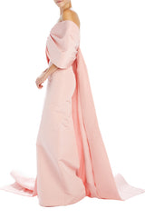 Peony silk faille column gown with train