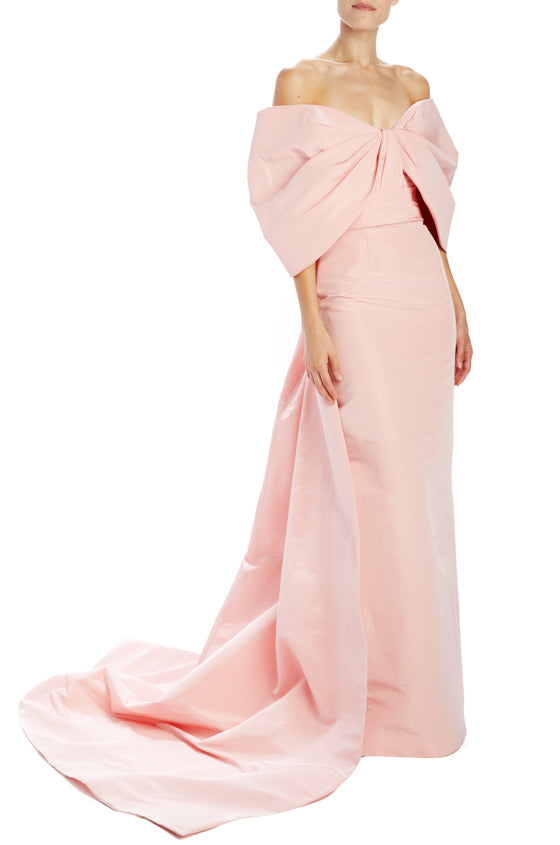 Column gown with train and off the shoulder draped sleeves