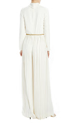 Long sleeve white jumpsuit with high neck and pleated pant