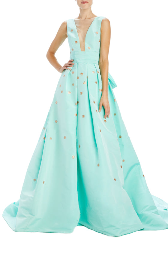 Monique Lhuillier Mint Faille Evening Gown