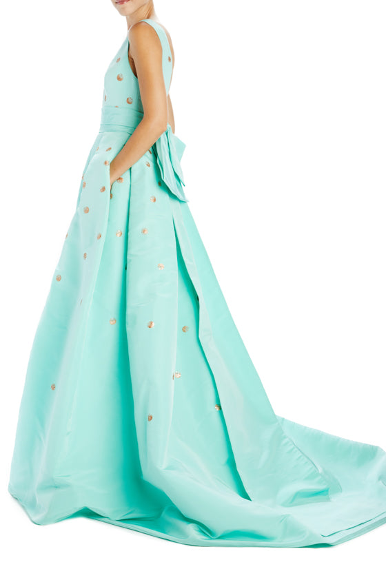 Spring 2020 Mint rose gold gown with bow and v-neck