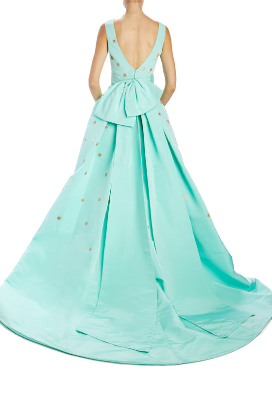 V-neck mint ball gown with back bow sash and pockets
