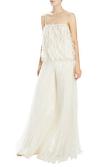 Pleated wide left pant ivory