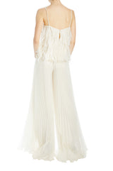 Ivory Organza pleated wide leg pant