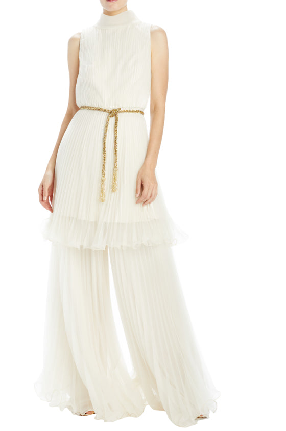 Beaded belt with looped tassel ends