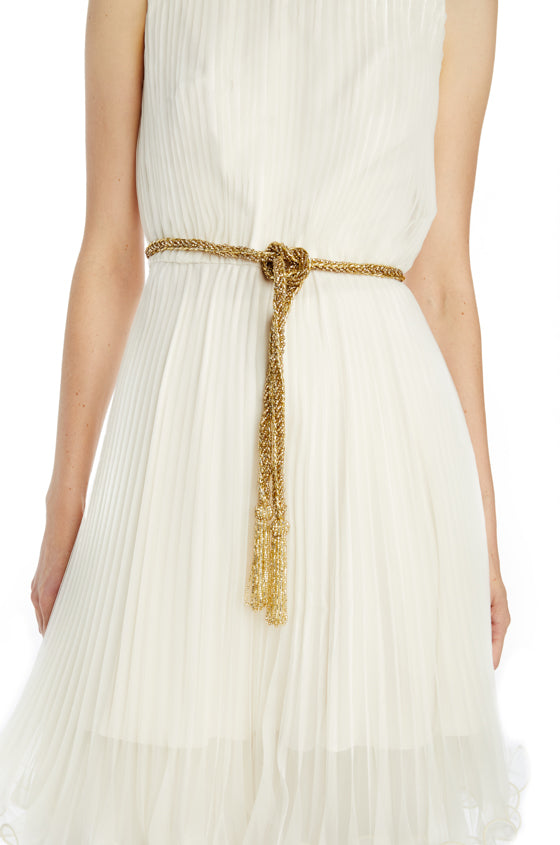 Gold beaded belt with looped tassel ends