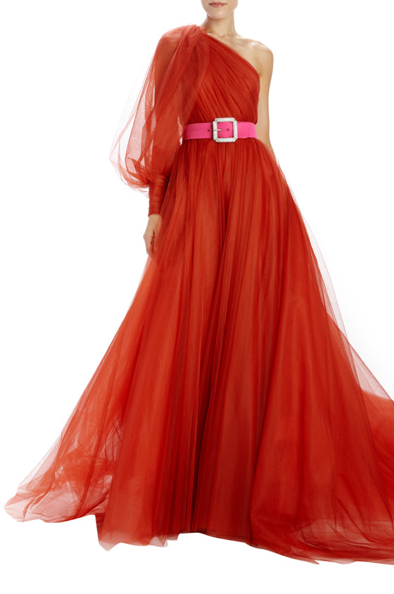 One shoulder tulle evening gown with belt